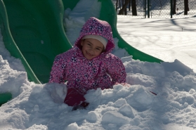 Chelsea's First Snow-Slide